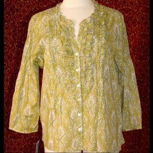 TALBOTS paisley cotton long sleeve blouse 16